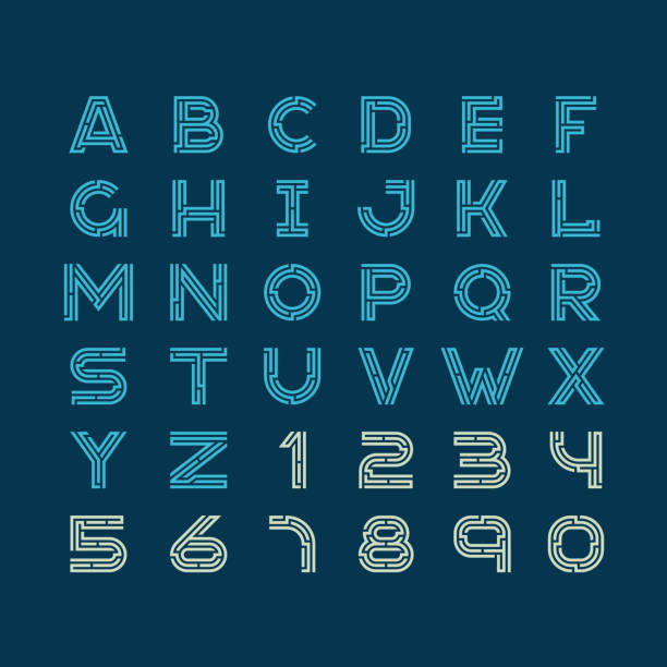 labyrinth tech buchstaben schrift linearen stil. bau design latein ein - labyrinthgarten stock-grafiken, -clipart, -cartoons und -symbole