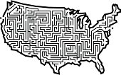 Vector illustration of the 48 contiguous states as a maze. Zipped file has answer as .eps.