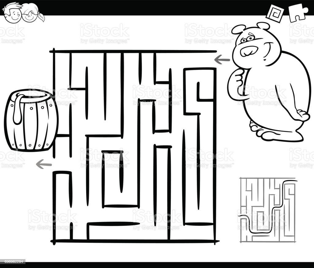 Labyrinth Mit Bär Malvorlagen Stock Vektor Art Und Mehr Bilder Von