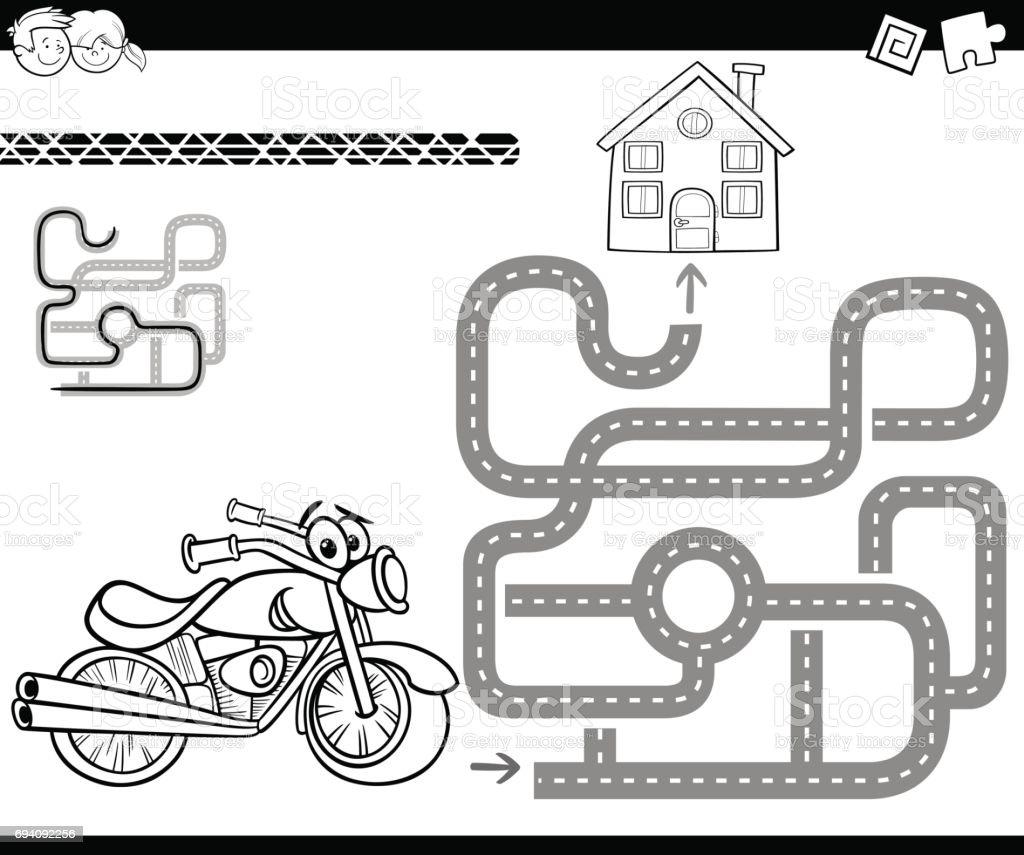 Bisiklet Boyama Ile Labirent Stok Vektör Sanatı Adlı Hayvannin