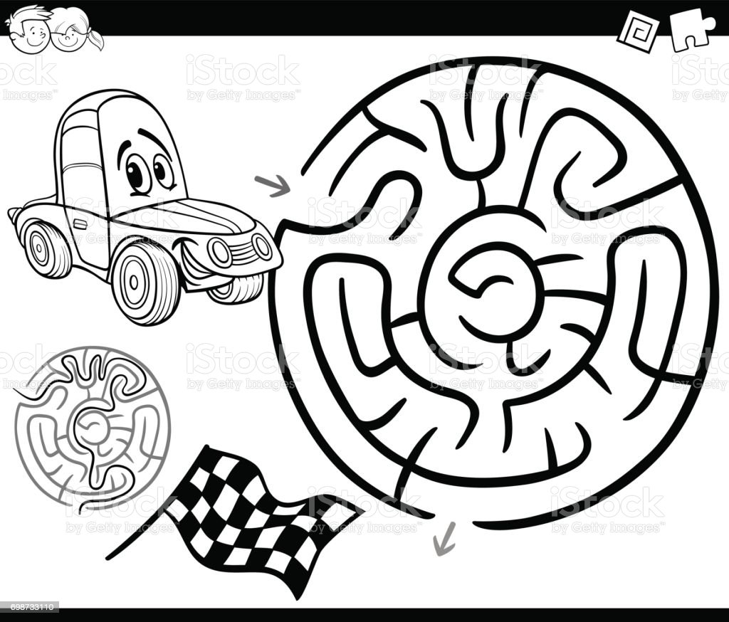 Maze With Car Coloring Page Stock Vector Art More Images of Black