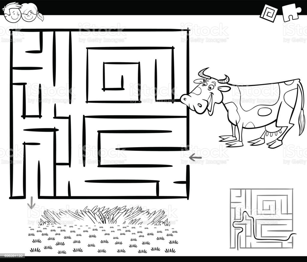 maze with cow for coloring vector art illustration