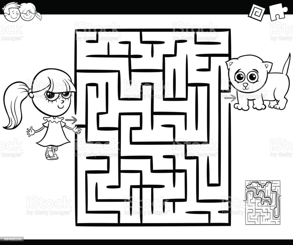 Coloriage Fille Avec Chat.Labyrinthe Avec Fille Et Chat A Colorier Vecteurs Libres De Droits