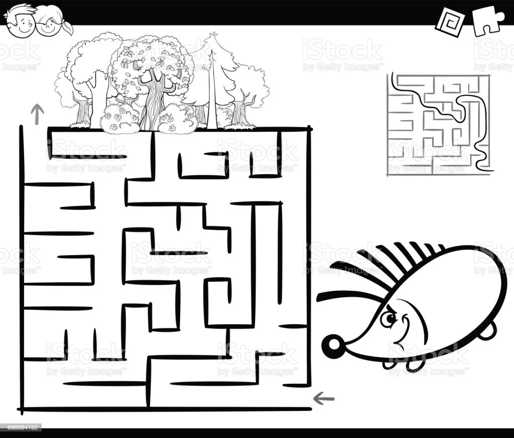 Irrgarten Polen Abschied Ausmalen Baum Labyrinth mit Igel Malvorlagen Lizenzfreies vektor illustration