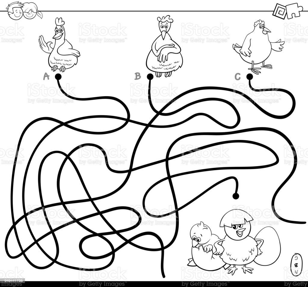 Maze With Hens And Chickens Color Book Stock Illustration ...