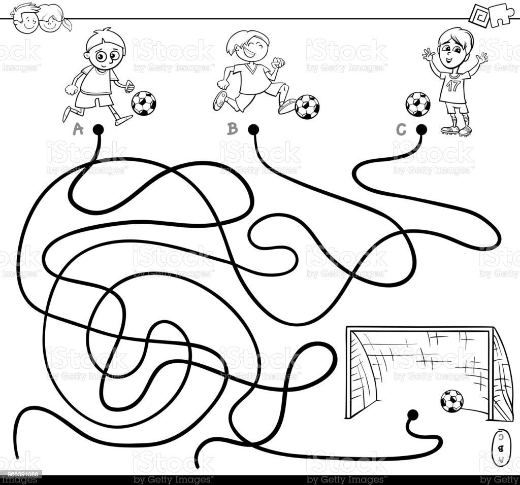Maze With Kid And Soccer Coloring Book Royalty Free
