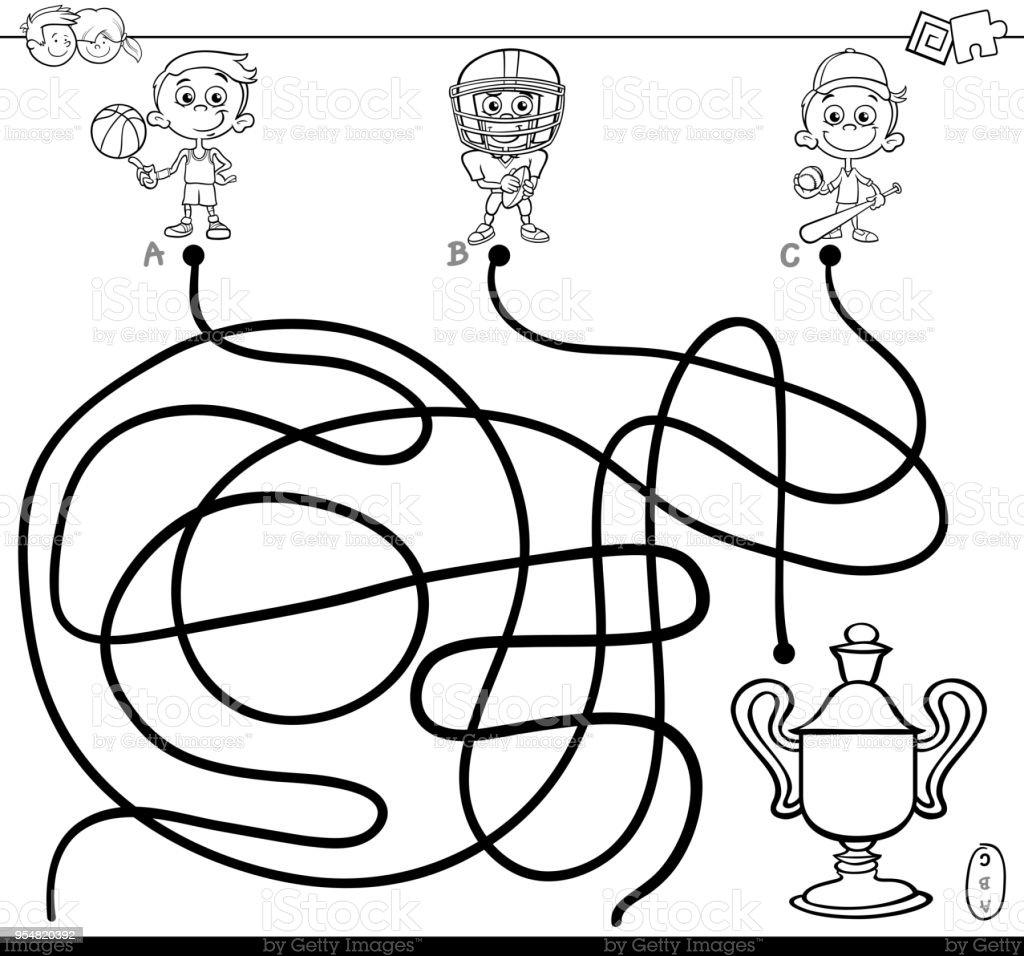 Ilustración de Laberinto Con Niño Y Libro Para Colorear De Deportes ...