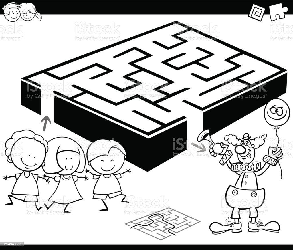 Labyrinth Mit Kindern Und Clown Zum Ausmalen Stock Vektor Art und ...