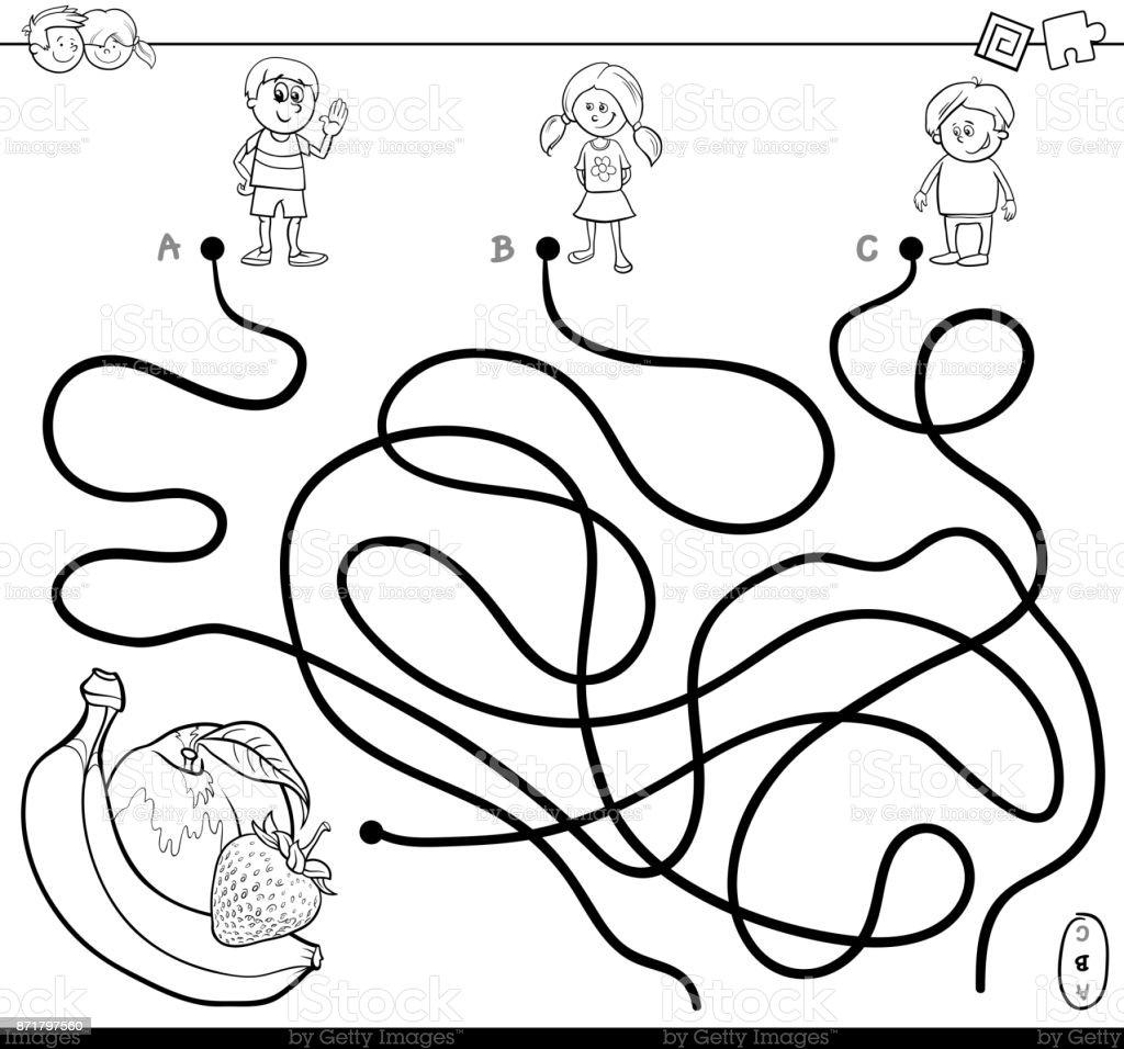 Laberinto Con Niños Y Libro Para Colorear De Frutas - Arte vectorial ...