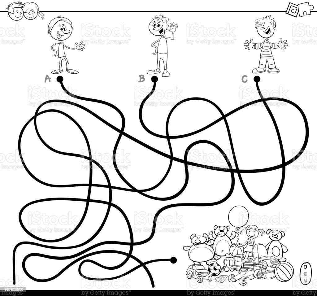 çocuklar Ve Boyama Kitabı Oyuncaklar Ile Labirent Stok Vektör Sanatı