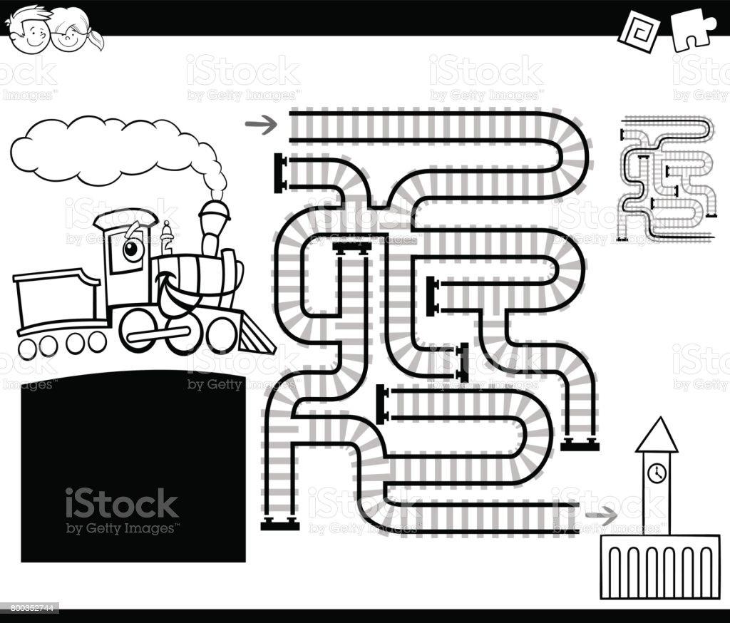 Laberinto Con Página Para Colorear Locomotora - Arte vectorial de ...