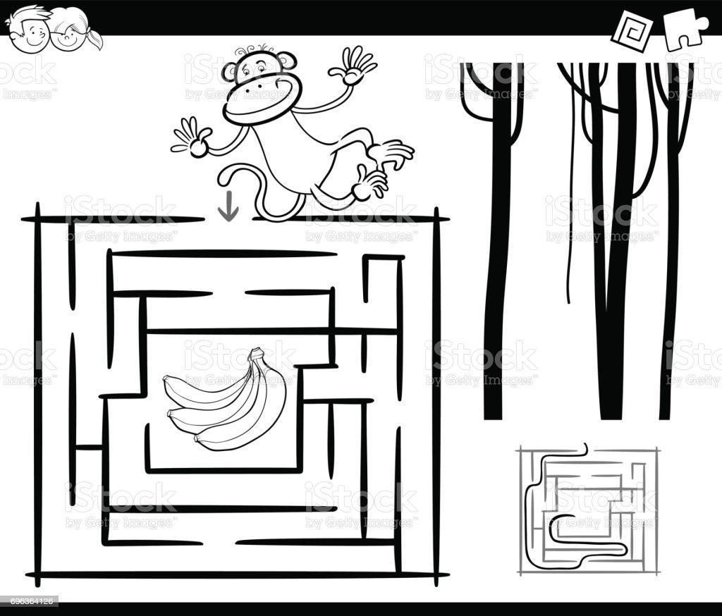 Doolhof Met Aap Kleurplaten Pagina Stockvectorkunst En Meer