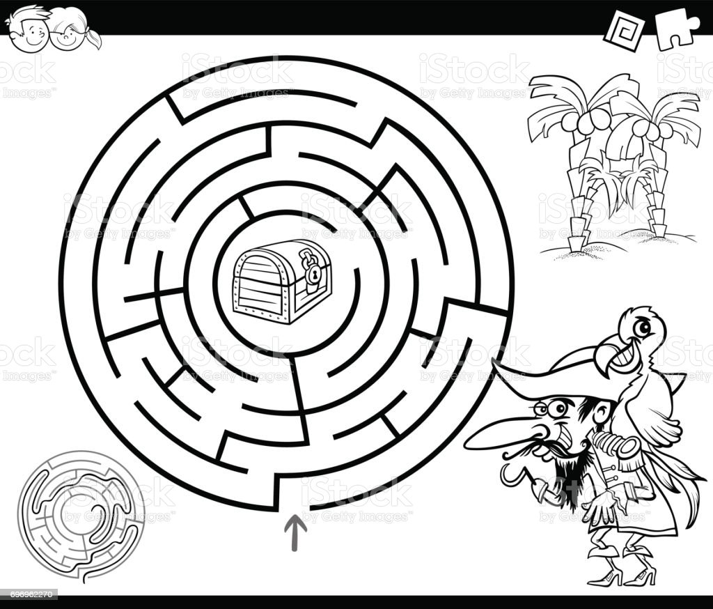 Maze With Pirate Coloring Page Stock Vector Art & More Images of ...