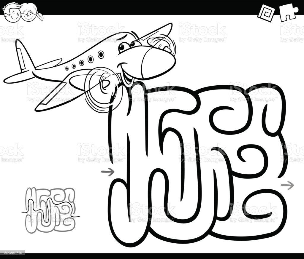 Uçak Boyama Sayfası Ile Labirent Stok Vektör Sanatı Adlı Hayvan