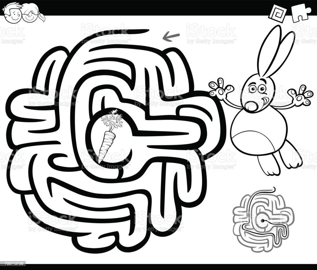 Sayfa Boyama Tavşan Ile Labirent Stok Vektör Sanatı Adlı Hayvan