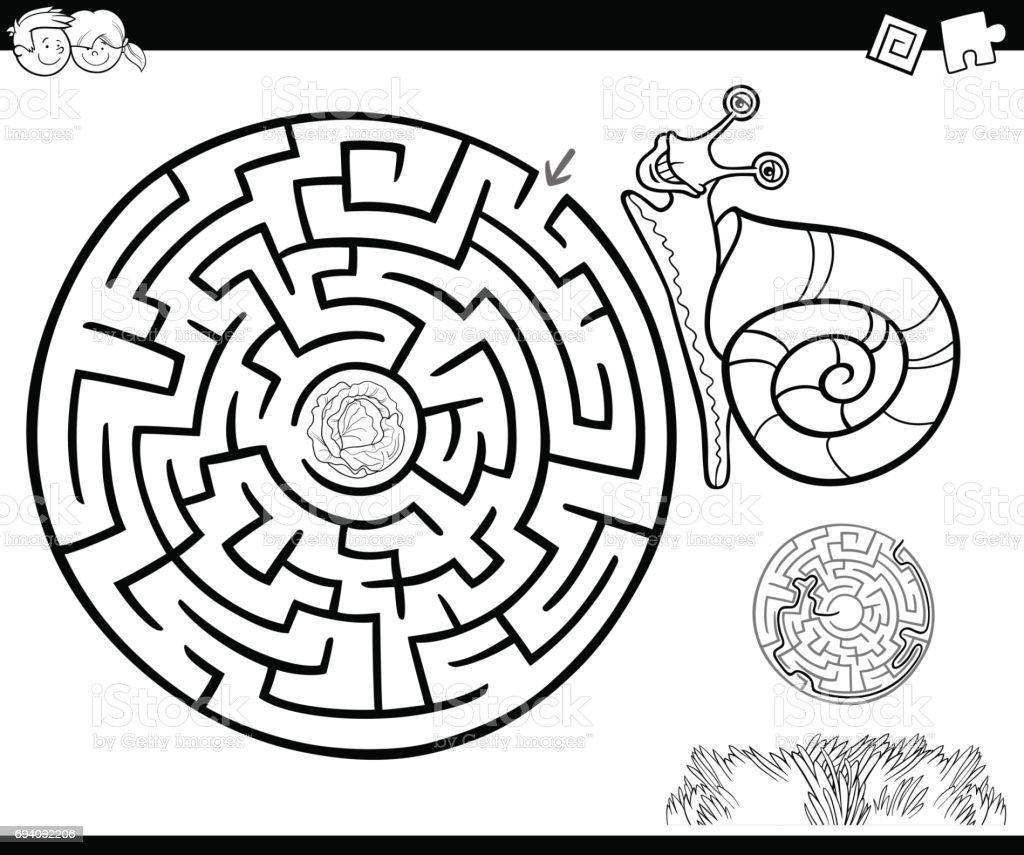 Ilustración de Laberinto Con Caracol Para Colorear y más banco de ...