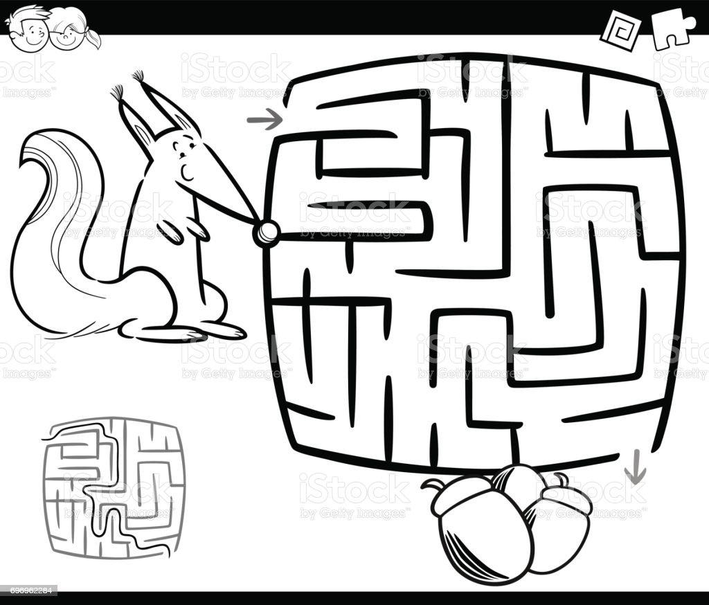 Labyrinth Mit Eichhörnchen Malvorlagen Stock Vektor Art Und Mehr
