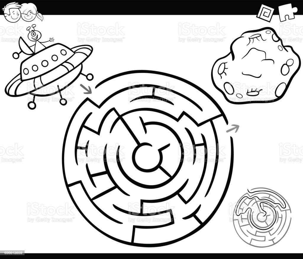 Labyrinth Mit Ufo Malvorlagen Stock Vektor Art und mehr Bilder von ...