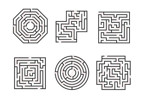 Mazes Signs Black Thin Line Set. Vector