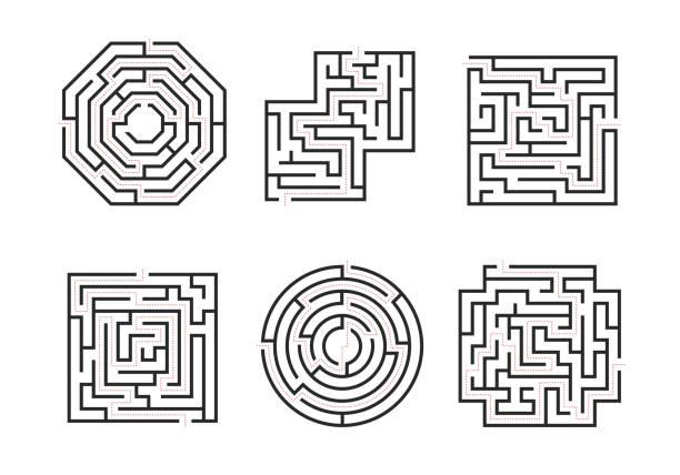 미로는 검은 얇은 라인 세트를 표시 합니다. 벡터 - 미로찾기 stock illustrations