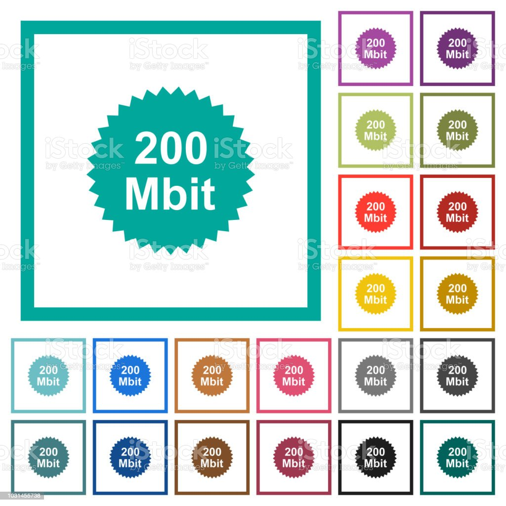 200 Mbit Guarantee Sticker Flat Color Icons With Quadrant Frames ...