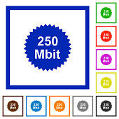 250 mbit guarantee sticker flat framed icons