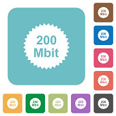 200 mbit guarantee sticker rounded square flat icons