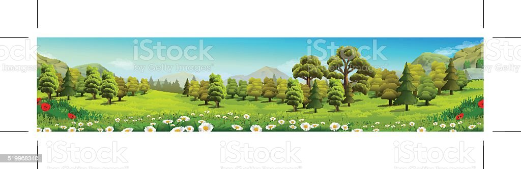 Meadow and forest, nature landscape vector art illustration