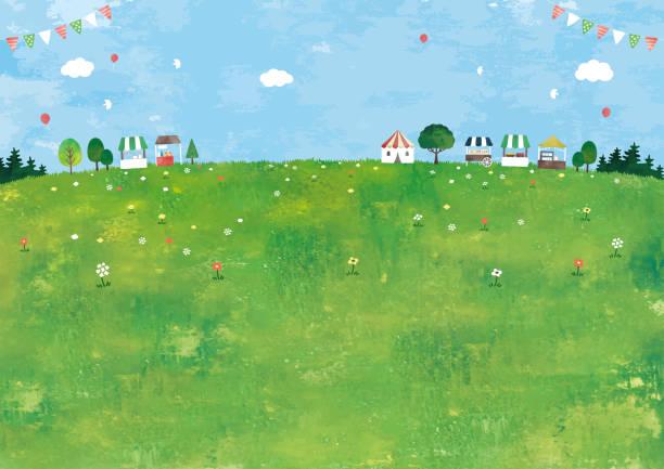 牧草地と市場 - 草原点のイラスト素材/クリップアート素材/マンガ素材/アイコン素材