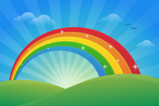 meadow and the light of the sky in the morning with a beautiful rainbow. - tęcza stock illustrations