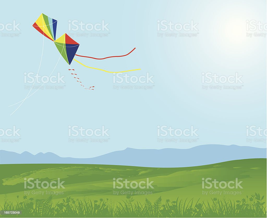 Meadow, Blue Sky And Kites royalty-free stock vector art