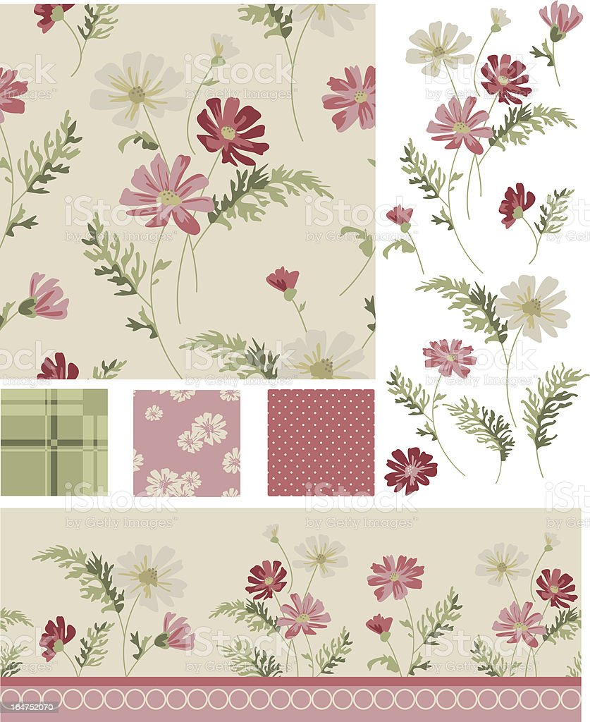 Meadow Flower Vector Seamless Patterns and Icons. royalty-free stock vector art