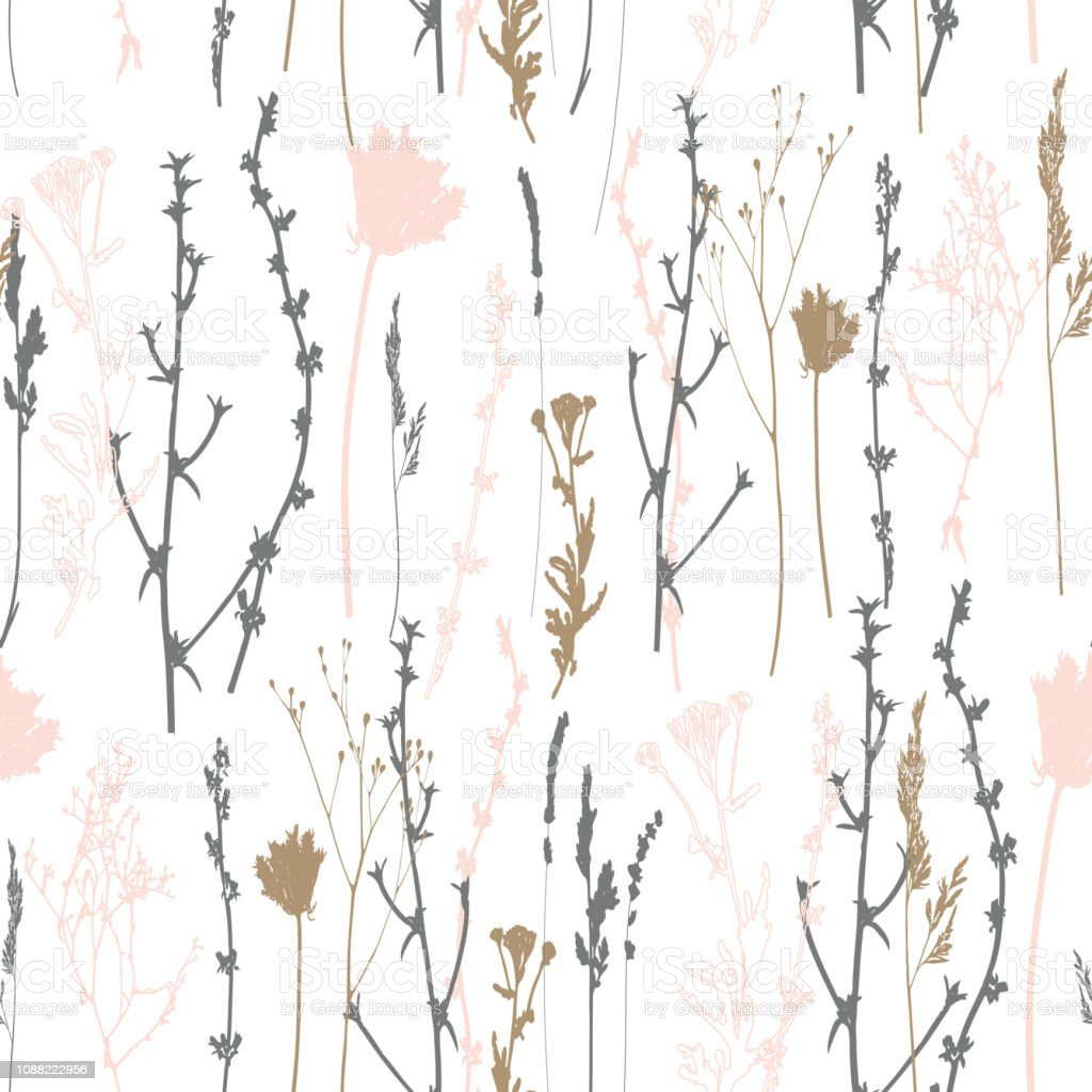 Vector seamless pattern with wild flowers, herbs and grasses.Thin...