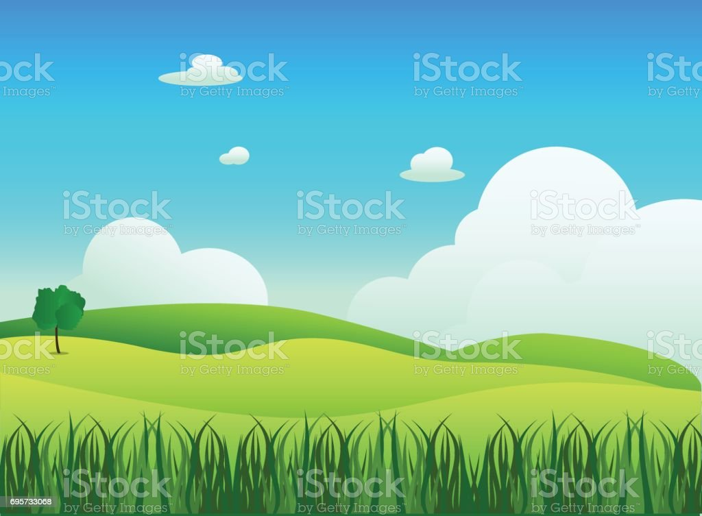 Meadow landscape with grass foreground, vector illustration.Green field and sky blue with white cloud background vector art illustration