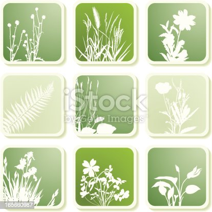 9 icons with different plant silhouettes
