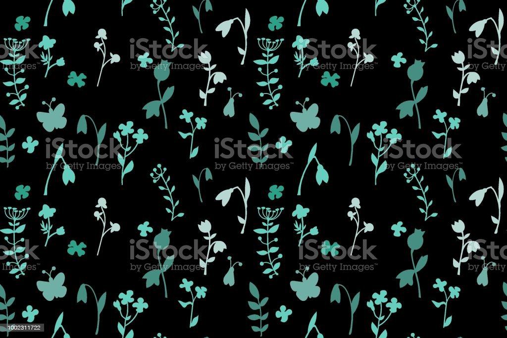 Meadow seamless pattern with a lot of spring and summer flowers from gardens and forests. There are bugs also