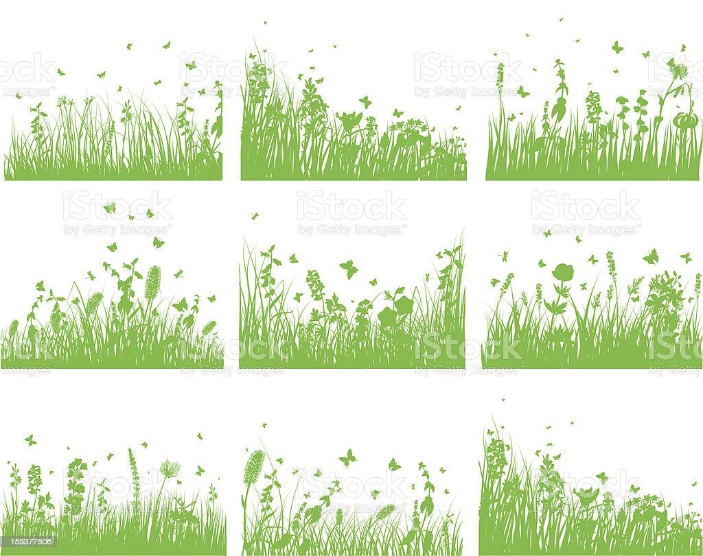 meadow silhouette set vector art illustration