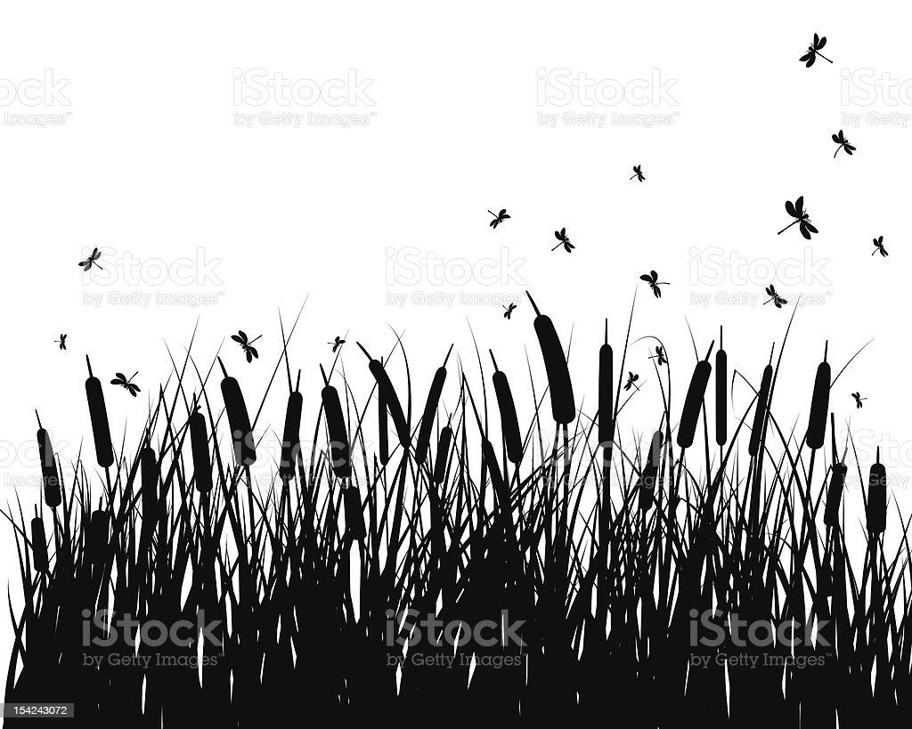 meadow silhouettes vector art illustration