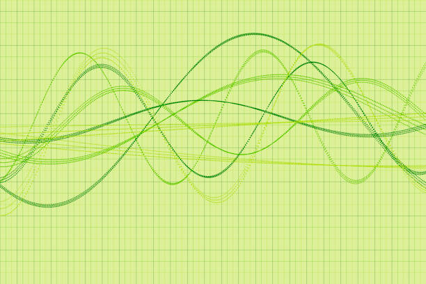 meadow vector wave dotted line pattern horizontal - sine wave stock illustrations