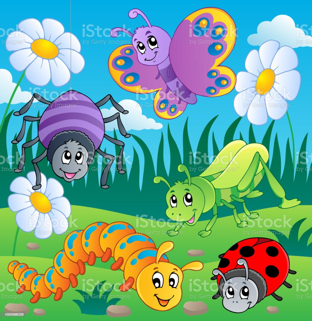 Meadow with various bugs theme 1 royalty-free stock vector art