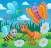 Meadow with various bugs theme 2 - vector illustration.