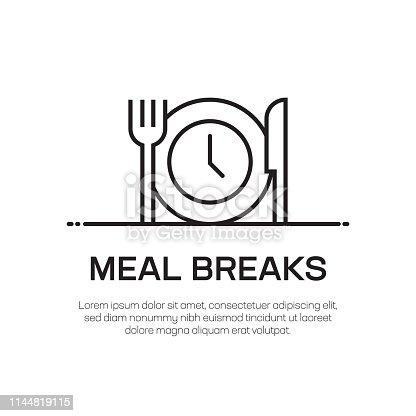istock Meal Breaks Vector Line Icon - Simple Thin Line Icon, Premium Quality Design Element 1144819115