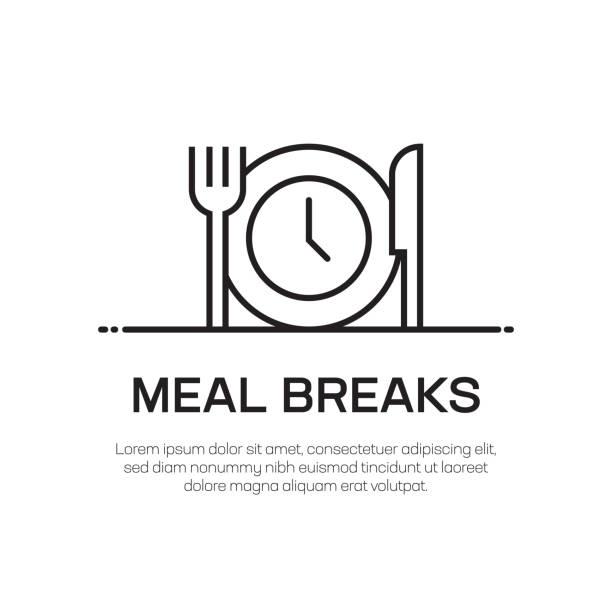 ilustrações, clipart, desenhos animados e ícones de a refeição quebra o ícone da linha do vetor-ícone fino simples da linha, elemento superior do projeto da qualidade - almoço