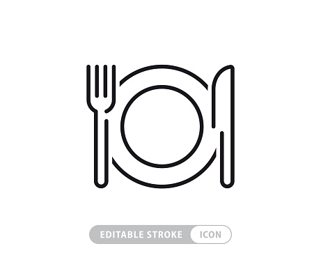 Meal Breaks Vector Line Icon - Simple Thin Line Icon, Premium Quality Design Element