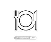 istock Meal Breaks Vector Line Icon - Simple Thin Line Icon, Premium Quality Design Element 1267161539