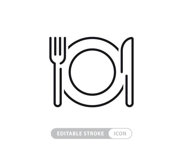 ilustrações de stock, clip art, desenhos animados e ícones de meal breaks vector line icon - simple thin line icon, premium quality design element - food