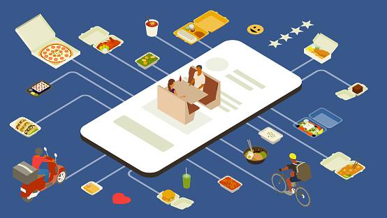 Meal delivery app illustration