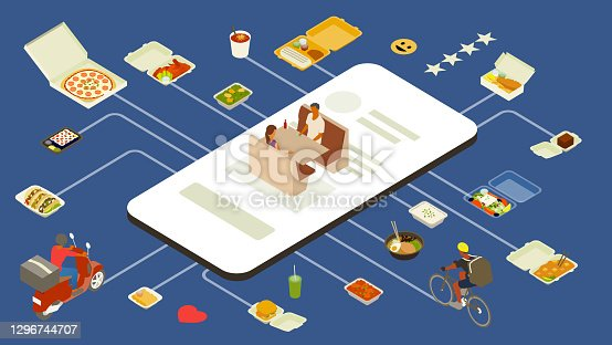 istock Meal delivery app illustration 1296744707