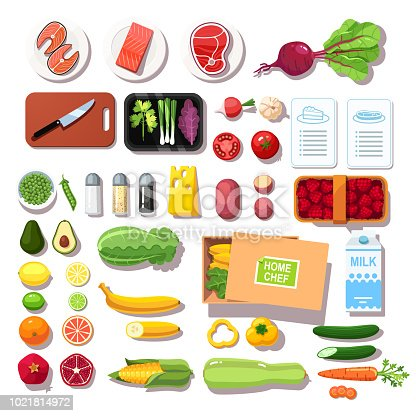 Various pre-portioned ingredients and recipes meal kit. Groceries, meat, fish, vegetables, fruits, spices set. Meal kit delivery service. Flat vector illustration isolated on white background