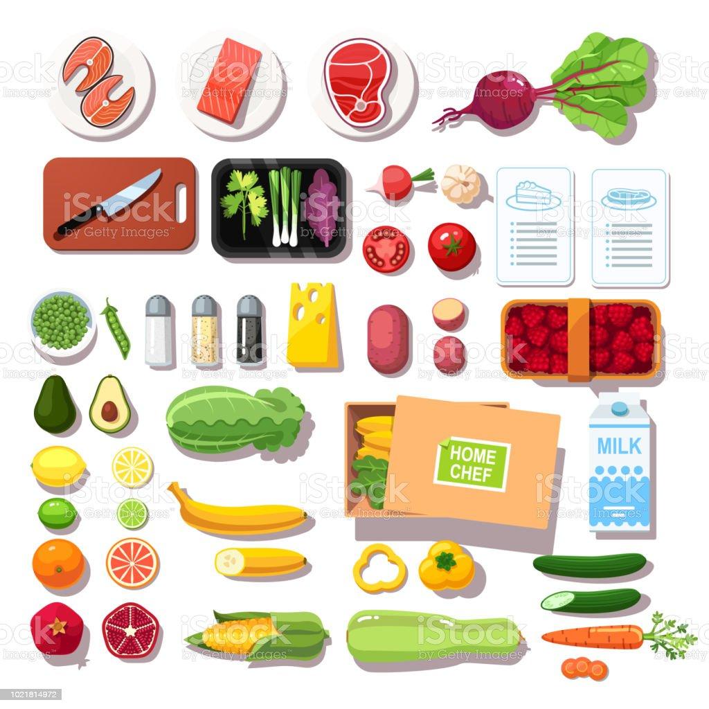 Tiendas de comestibles entrega kit de comida establecido con cuadernillos de recetas. Carne, pescado, verduras, frutas, especias la vista superior. Vector aislado plano - ilustración de arte vectorial